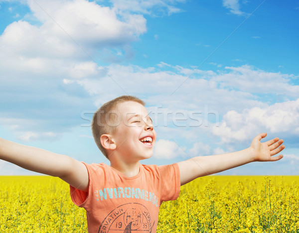 Happy little boy on a summer day Stock photo © konradbak