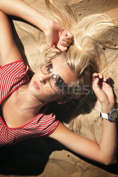 Vacation day of a cute blonde Stock photo © konradbak