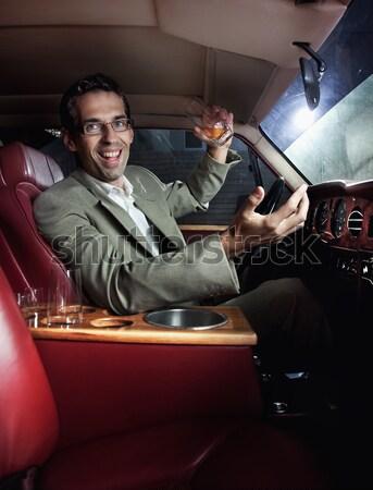 Screaming man in the car Stock photo © konradbak