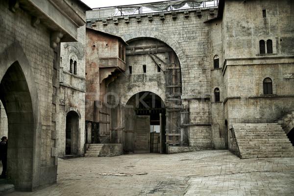 Középkori kastély európai város kép épület Stock fotó © konradbak