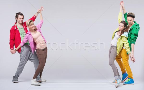 Iki hip-hop çiftler dans gülümseme genç Stok fotoğraf © konradbak