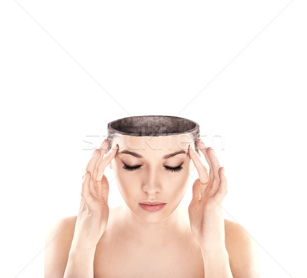 Stock photo: Conceptual image of a open minded woman , lots of copy space