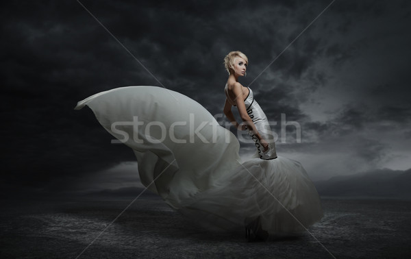 Fiatal szépség nő visel káprázatos ruha Stock fotó © konradbak