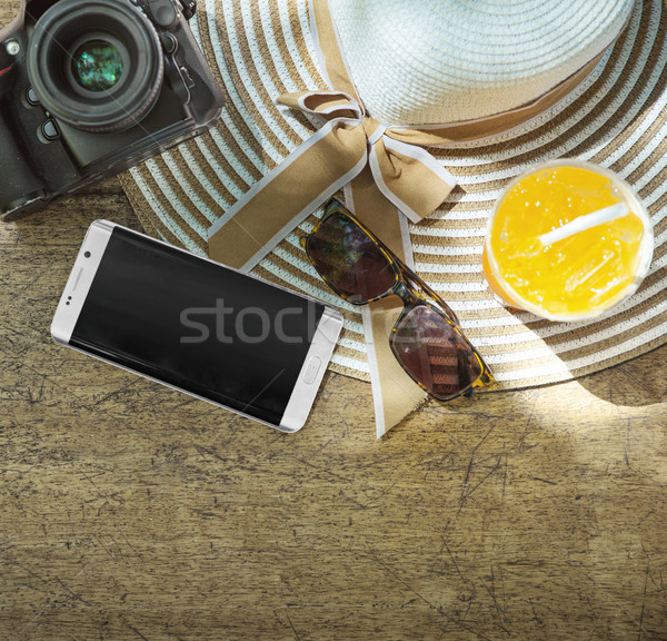 Summer accessories, tropical beach, cold drink Stock photo © konradbak