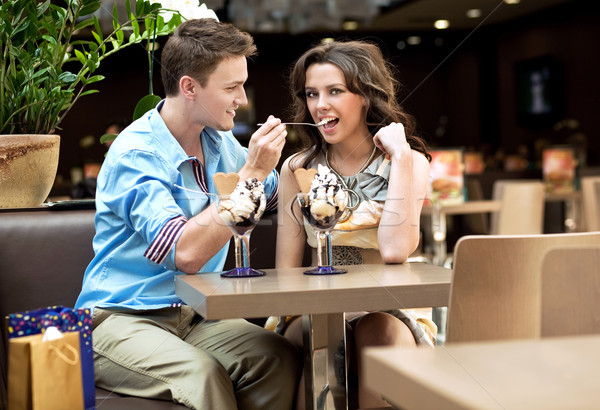 young couple enjoying ice cream Stock photo © konradbak