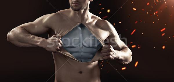 Emberi próbababa fém test terv fitnessz Stock fotó © konradbak
