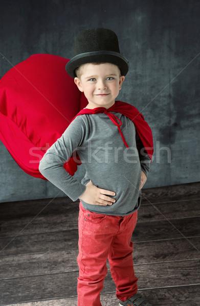 Portré büszke kicsi bűvész kéz háttér Stock fotó © konradbak