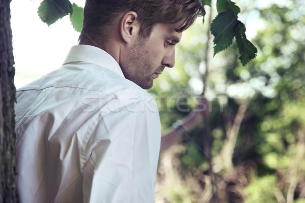 ハンサムな男 庭園 ツリー 顔 肖像 頭 ストックフォト © konradbak