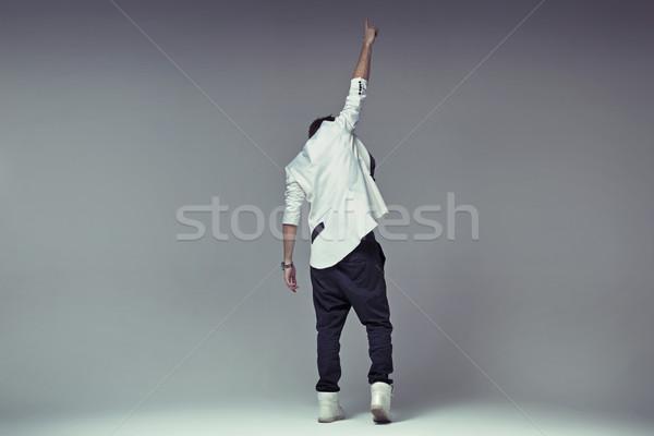 勝利 ジェスチャー スタイリッシュ 男 男 背景 ストックフォト © konradbak
