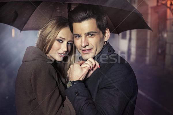 Great portrait of autumn couple Stock photo © konradbak