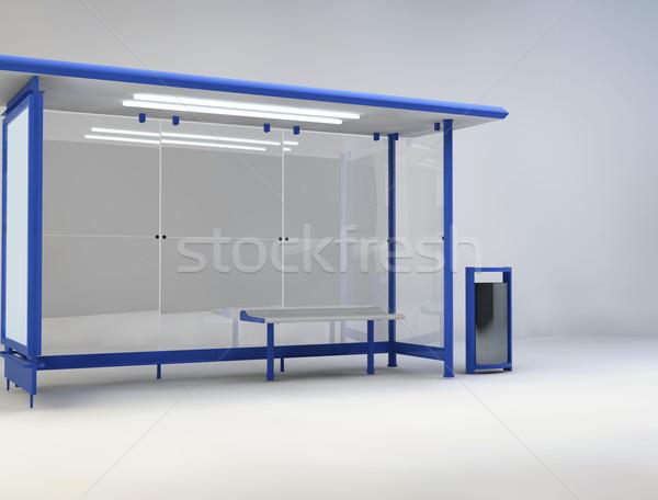 3d illustration otobüs durağı mavi cam kentsel pazarlama Stok fotoğraf © konradbak