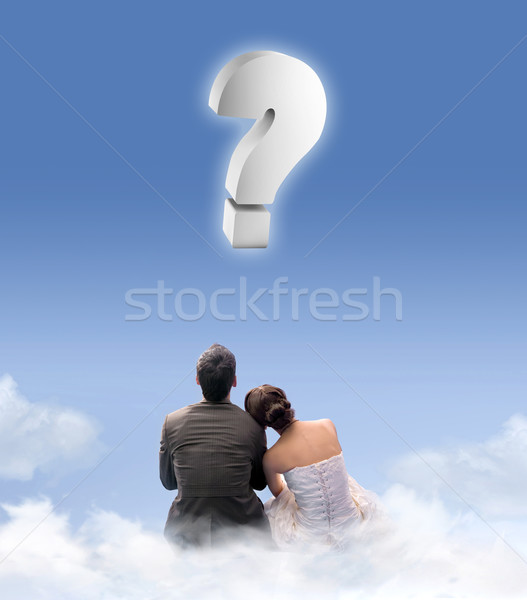 Just married couple on the cloudlet Stock photo © konradbak
