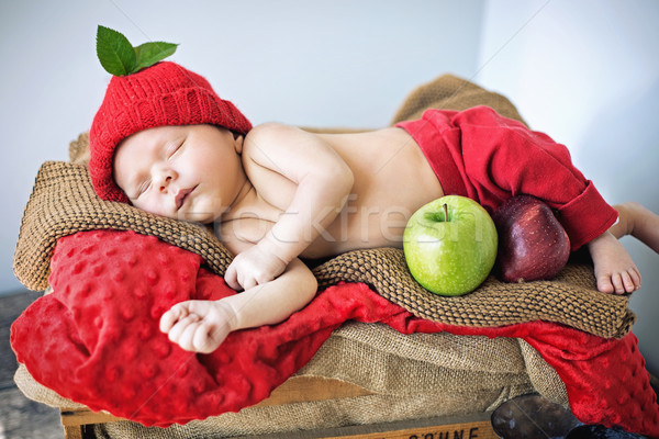 Stockfoto: Cute · pasgeboren · kind · slapen · zachte · deken