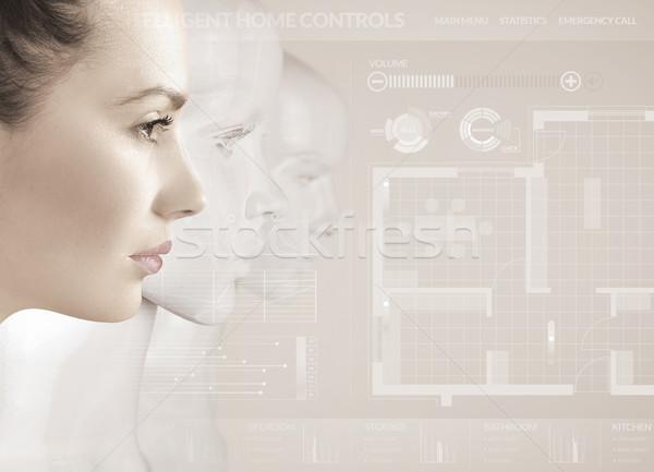 女性 ロボット 人工知能 少女 顔 ファッション ストックフォト © konradbak