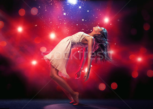 Flexível bailarino pista de dança jovem mulher menina Foto stock © konradbak