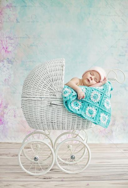 Cute kind slapen kinderwagen vrouw Stockfoto © konradbak