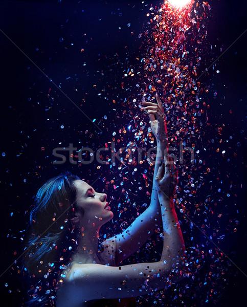 портрет брюнетка женщину цехин душу Сток-фото © konradbak