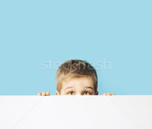 Portré kicsi félénk fiú gyerek mosoly Stock fotó © konradbak