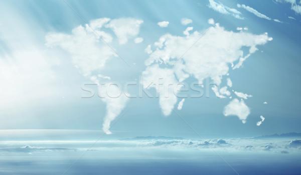 Quadro denso nuvens mundial forma luz Foto stock © konradbak