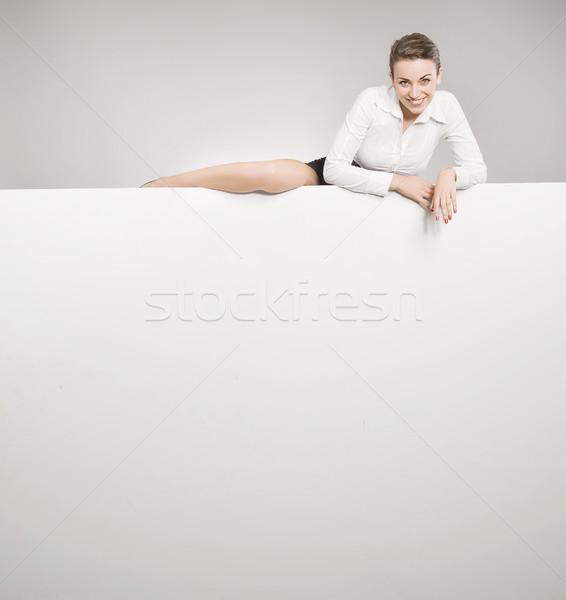 ストックフォト: 魅力的な · 女性実業家 · 空っぽ · ホワイトボード · 紙
