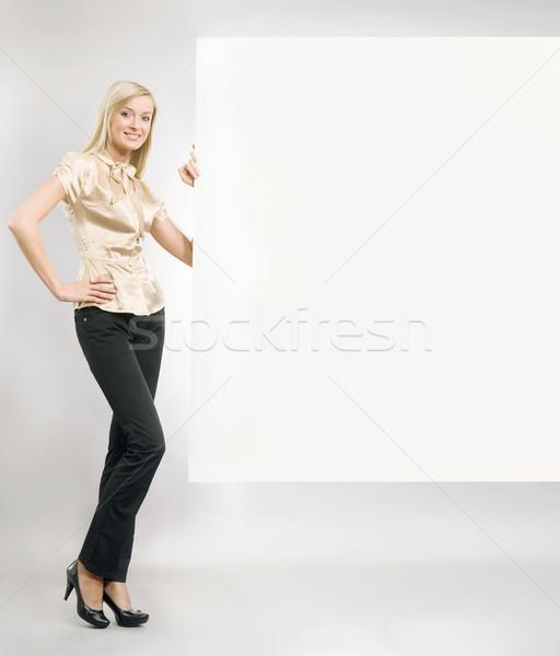 красивой блондинка секретарь пусто копия пространства Сток-фото © konradbak