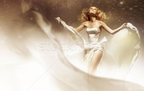 Sexy woman wearing wedding dress Stock photo © konradbak