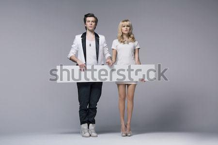 Twee dansers tonen lege jonge Stockfoto © konradbak