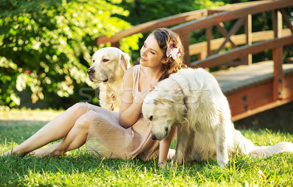 Attractive woman with two dogs Stock photo © konradbak