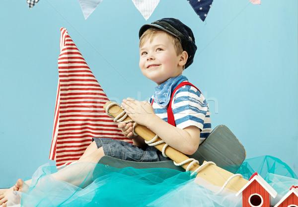 Retrato pequeño cute marinero mar verano Foto stock © konradbak