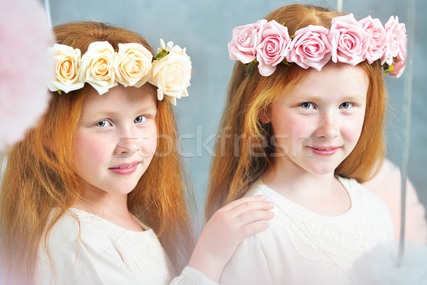 Two redhead sisters posing together Stock photo © konradbak