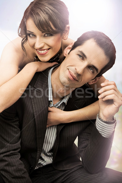 Stock photo: happy wedding couple