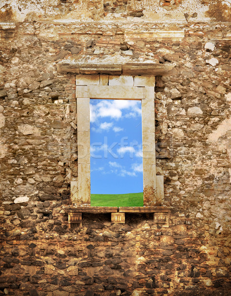 Conceptual image of an ancient brick wall Stock photo © konradbak