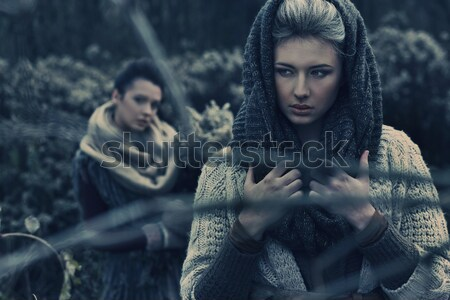 Sensual woman angel with tawny skin Stock photo © konradbak