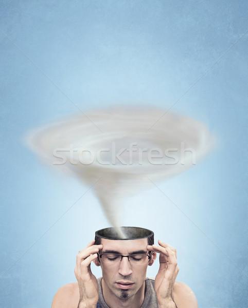 Kép tornádó fej férfi koponya agy Stock fotó © konradbak