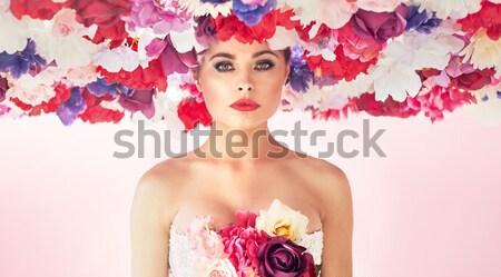 Conceptual portrait of the lady with giant chaplet Stock photo © konradbak