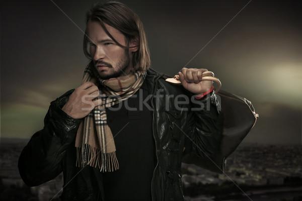 Bel homme sac visage modèle beauté hommes Photo stock © konradbak