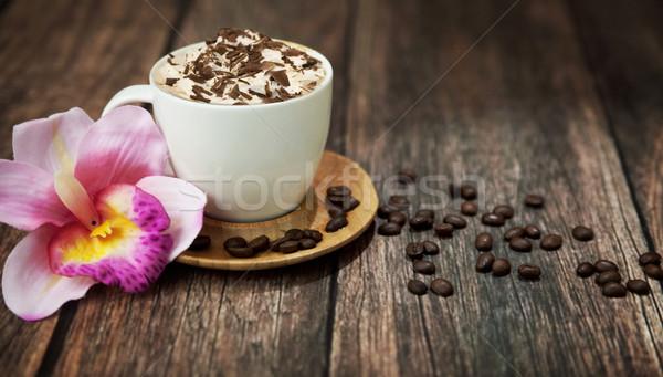 Delicious coffee with chocolate Stock photo © konradbak