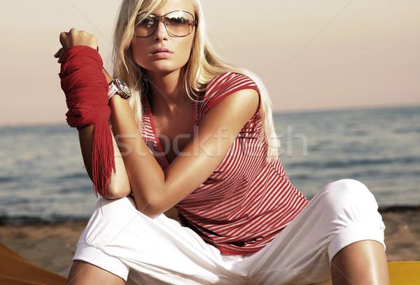 Stockfoto: Vakantie · dag · cute · blond · hemel · water