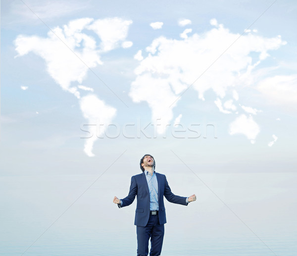 Successful businessman shouting to the world Stock photo © konradbak