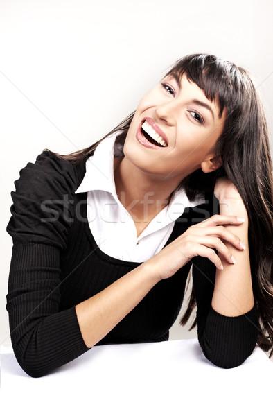 Mutlu genç kadın gülen iş kız kitap Stok fotoğraf © konradbak