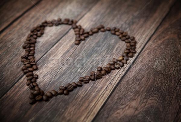 Photo stock: Photos · parfumé · coeur · grains · de · café · café