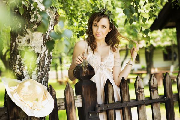 Sexy brunetka pani ogrodzenia Zdjęcia stock © konradbak
