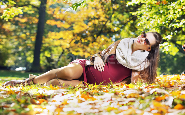 Smart pregnant woman in the autumn park Stock photo © konradbak