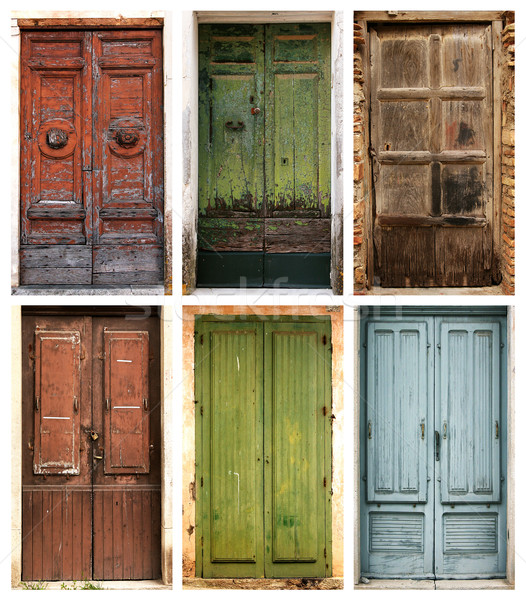 Photo collage belle anciens portes bois Photo stock © konradbak