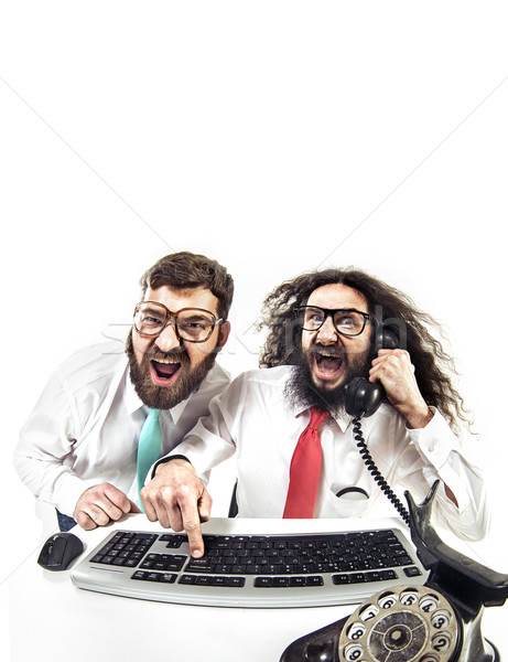 Two nerdy guys in the office Stock photo © konradbak