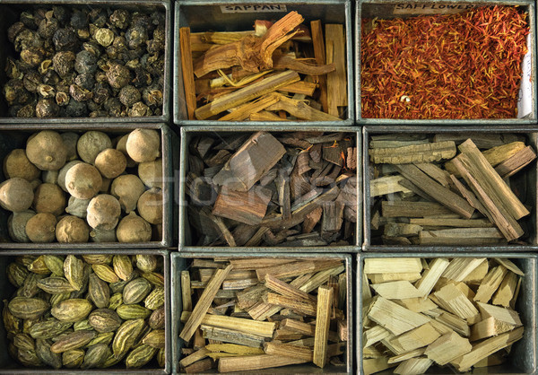 Picture of a lot of boxes full of spices Stock photo © konradbak