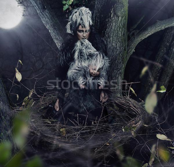 Fekete holló anya gyermek divat madár Stock fotó © konradbak