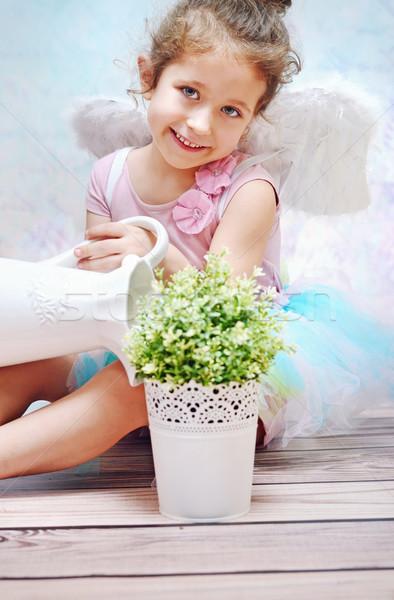 Kicsi mosolyog lány locsol növény gyerek Stock fotó © konradbak