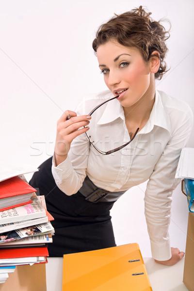 A secretary drinking coffee  Stock photo © konradbak