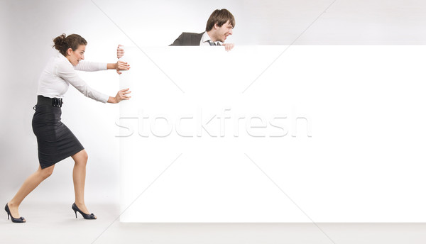 Affaires personnes blanche bord femme papier Photo stock © konradbak